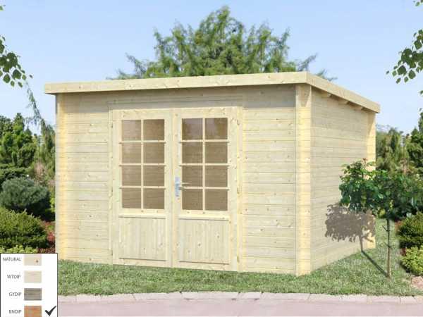 """Gartenhaus Blockbohlenhaus """"Ella"""" 8,7 m² 28 mm braun tauchimprägniert"""