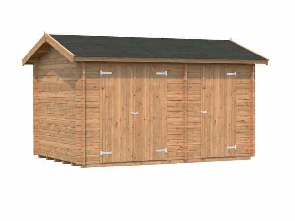 Gerätehaus Blockbohlenhaus Jari 8,9 m² 28 mm braun tauchimprägniert