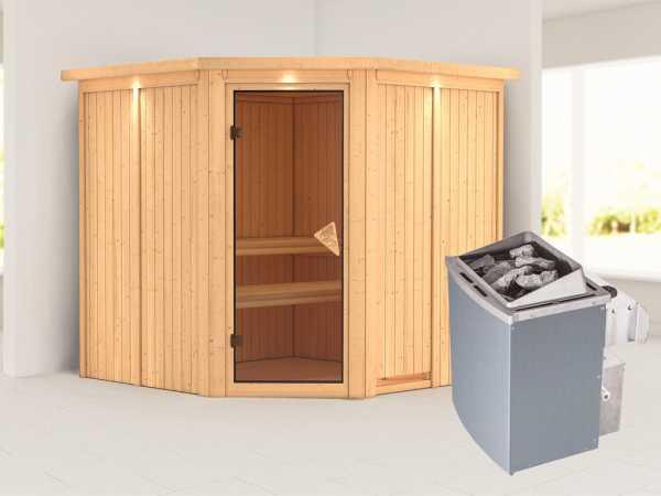Systemsauna Jarin mit Dachkranz, bronzierte Ganzglastür, inkl. 9 kW Saunaofen integr. Steuerung