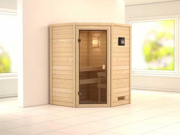 """Sauna Massivholzsauna SPARSET """"Helsinki 1"""" inkl. Bio-Ofen externe Steuerung"""