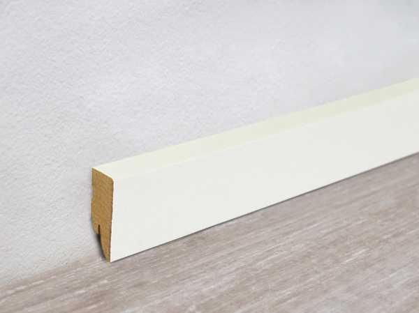 Vierkant Sockelleiste Ultra weiß streichfähig glänzend (MDF-Kern)