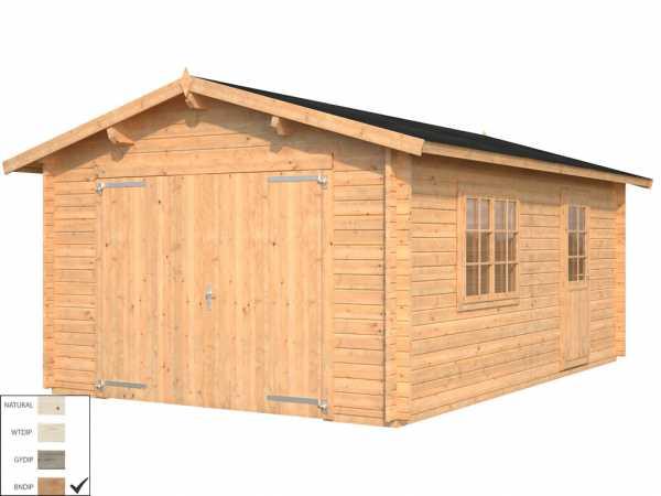 """Garage """"Roger"""" 19,0 m² mit Holztor 44 mm braun tauchimprägniert"""