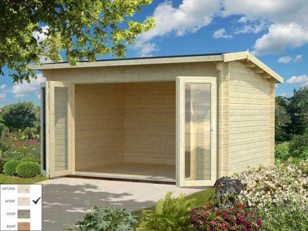 Gartenhaus Blockbohlenhaus Ines 11,1 m² 44 mm transparent tauchimprägniert