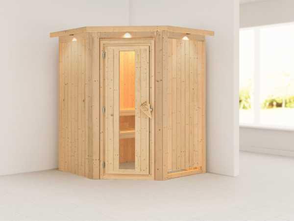 Sauna Systemsauna Nanja mit Dachkranz, Energiespartür