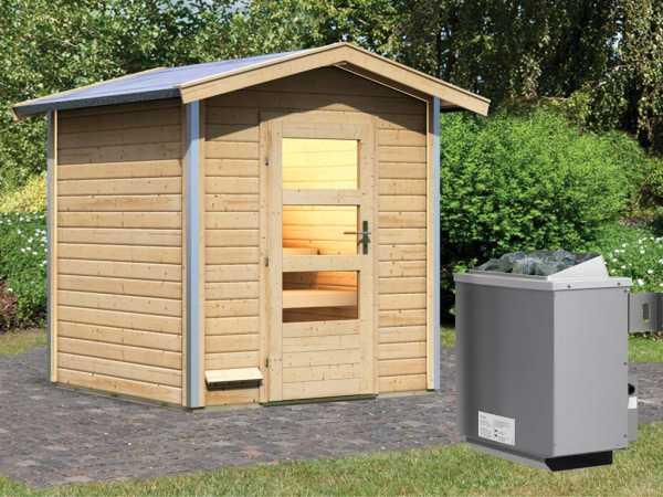 """Saunahaus """"Lasse"""" mit Klarglastür, inkl. 9 kW Saunaofen mit integrierter Steuerung"""