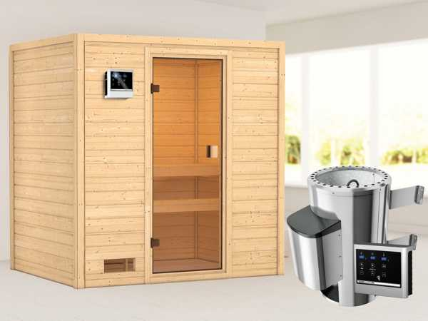 Sauna Selena mit bronzierter Glastür + 3,6 kW Plug & Play Saunaofen ext. Strg.