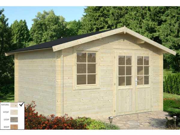 """Gartenhaus Blockbohlenhaus """"Klara"""" 10,4 m² 28 mm naturbelassen"""