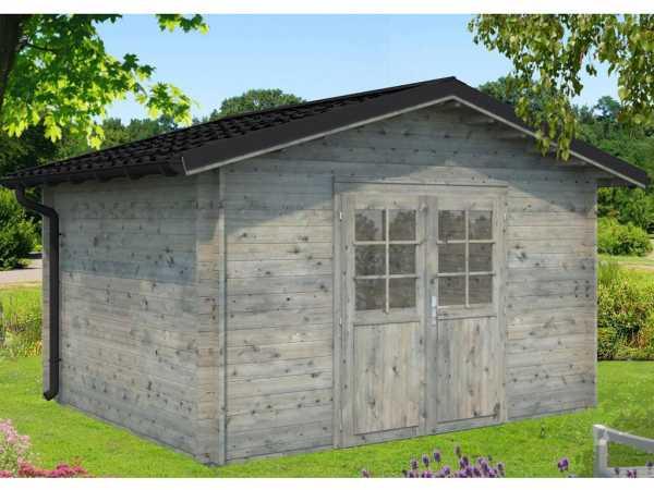 Gartenhaus Blockbohlenhaus Tina 10,4 m² 34 mm grau tauchimprägniert