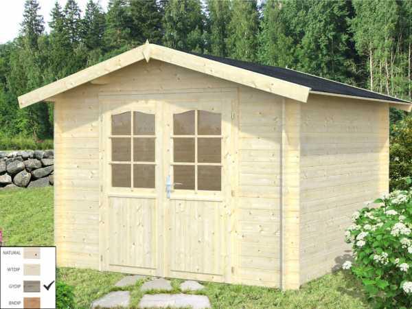 Gartenhaus Blockbohlenhaus Lotta 7,3 m² 28 mm grau tauchimprägniert