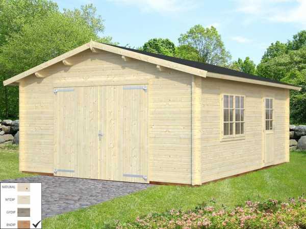Garage Roger 23,9 m² mit Holztor 44 mm braun tauchimprägniert