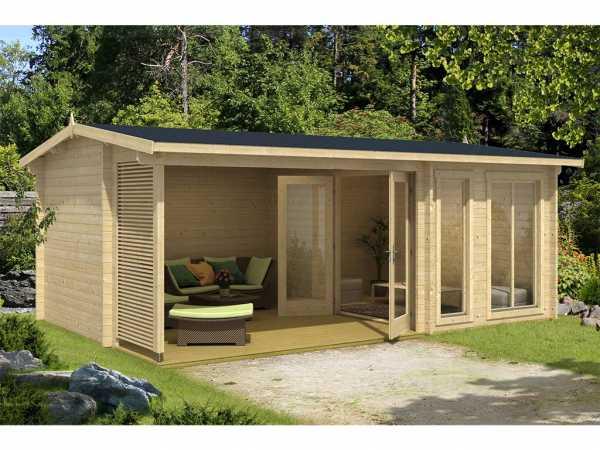 Gartenhaus Blockbohlenhaus Torquay 44 44 mm naturbelassen