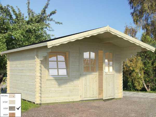 Gartenhaus Blockbohlenhaus Sally 12,3 m² 44 mm grau tauchimprägniert