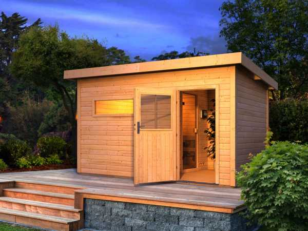 Saunahaus Suva 3 mit Holztür & Vorraum, inkl. 9 kW Saunaofen mit externer Steuerung
