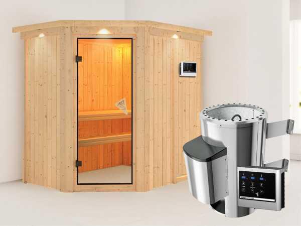 Sauna Systemsauna Saja mit Dachkranz, inkl. Plug & Play Saunaofen externe Steuerung