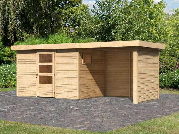 Gartenhaus SET Oburg 4 19 mm naturbelassen, inkl. 2,4 m Anbaudach + Seiten- & Rückwand