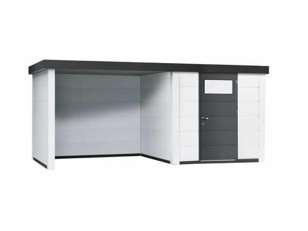 Gerätehaus aus Metall Eleganto 2424 mit Loungeanbau links Weiß