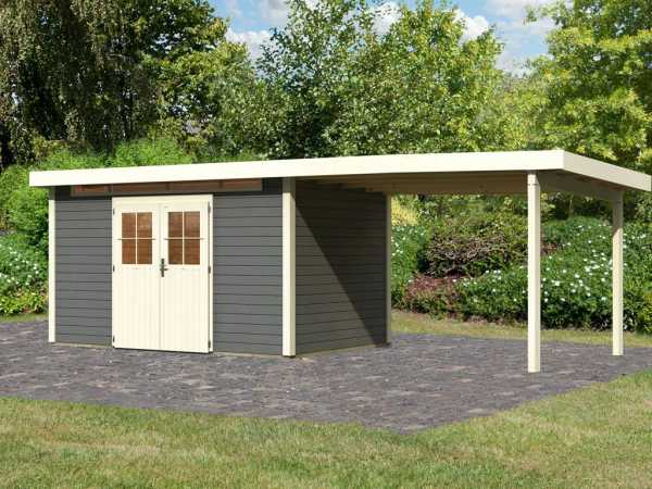 Gartenhaus SET Kerpen 5 28 mm terragrau, inkl. 3,2 m Anbaudach