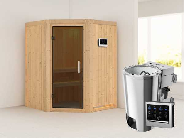 Sauna Systemsauna Nanja graphit Ganzglastür + Plug & Play Bio-Ofen mit externer Steuerung