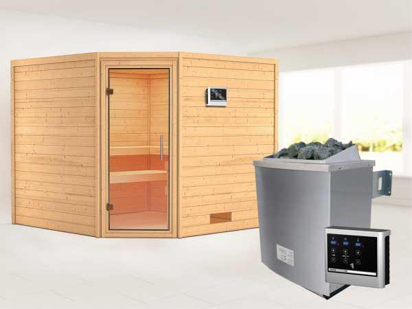 Sauna Massivholzsauna Leona Klarglas Ganzglastür + 9 kW Saunaofen mit ext. Strg