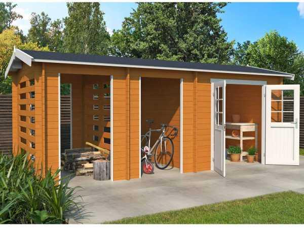 Gartenhaus Blockbohlenhaus Hokkaido 2 28 mm eiche