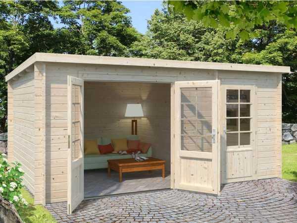 Gartenhaus Blockbohlenhaus Ella 13,1 m² 28 mm naturbelassen