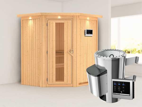 Sauna Systemsauna Tonja mit Dachkranz, Energiespartür + Plug & Play Saunaofen mit ext. Steuerung