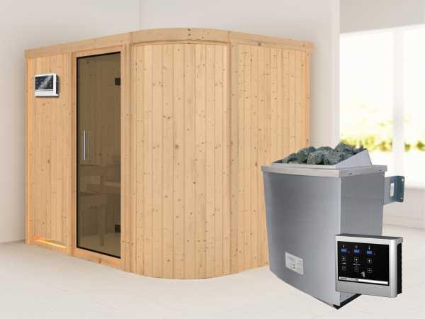 Sauna Systemsauna Titania 4 graphit Ganzglastür + 9 kW Bio-Kombiofen mit ext.Strg