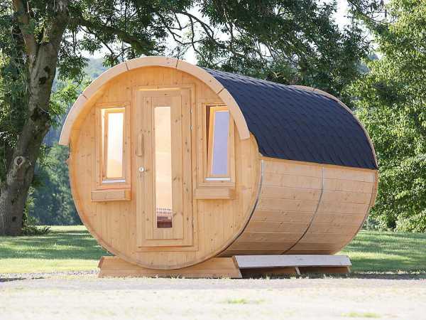 Campingfass 393 2-Raum naturbelassen, als Bausatz, inkl. Dachschindlen schwarz
