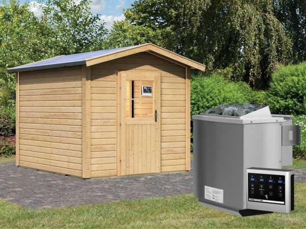 Saunahaus Birka 1 mit Holztür & Vorraum, inkl. 9 kW Bio-Kombiofen mit externer Steuerung