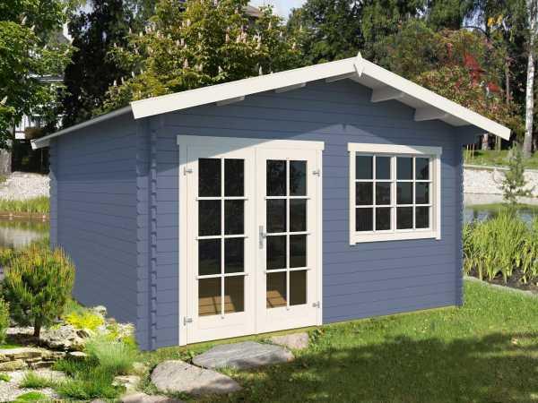 Gartenhaus Blockbohlenhaus Montana 2 40 mm taubenblau