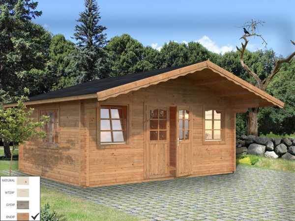 Gartenhaus Blockbohlenhaus Helena 18,6 m² 70 mm braun tauchimprägniert