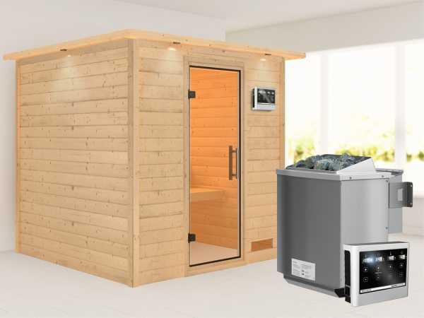 """Sauna Massivholzsauna """"Nora"""" mit Dachkranz, Klarglas Ganzglastür + 9 kW Bio-Kombiofen mit ext. Strg"""