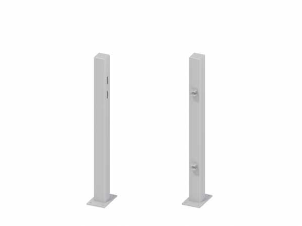 Torpfosten für Einzeltor (2er-Set), Metall, Silber
