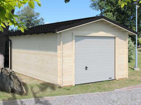 "Garage ""Tomas"" 19,2 m² mit Sektionaltor 34 mm transparent tauchimprägniert"