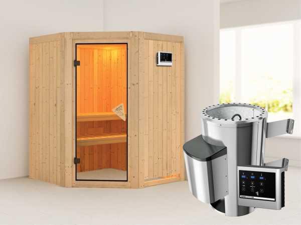 Sauna Systemsauna Nanja inkl. Plug & Play Saunaofen externe Steuerung