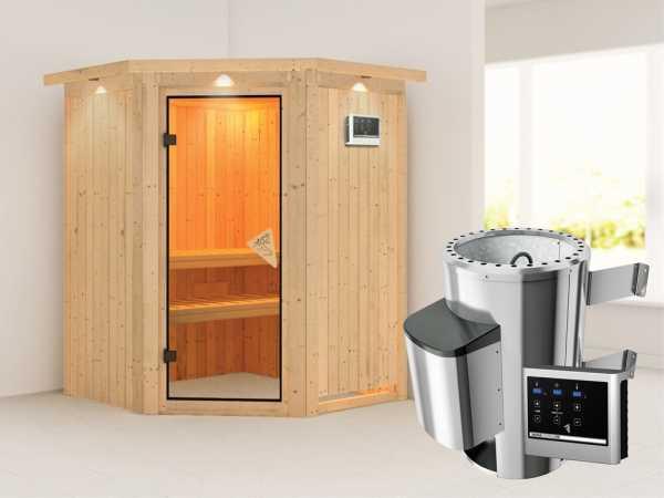 Sauna Systemsauna Nanja mit Dachkranz, inkl. Plug & Play Saunaofen externe Steuerung