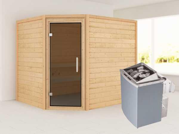 Sauna Lisa mit graphitfarbener Glastür + 9 kW Saunaofen integr. Strg.