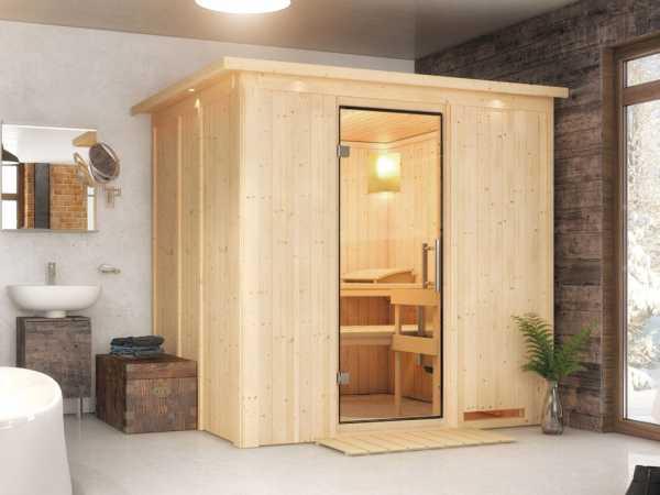 Sauna Systemsauna Daria mit Dachkranz, Klarglas Ganzglastür