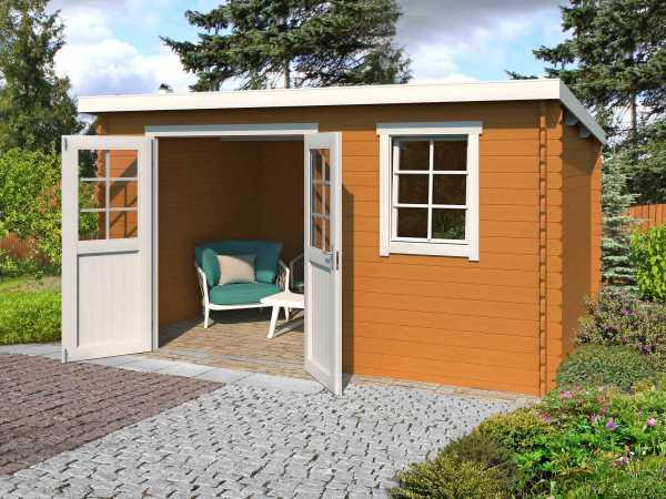 Gartenhaus Blockbohlenhaus Amira 230 28 mm eiche