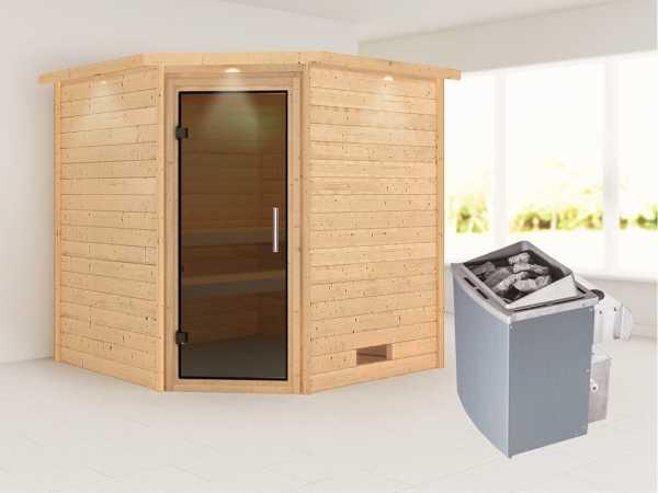 Sauna Massivholzsauna Nina mit Dachkranz, graphit Ganzglastür + 9 kW Saunaofen mit Steuerung