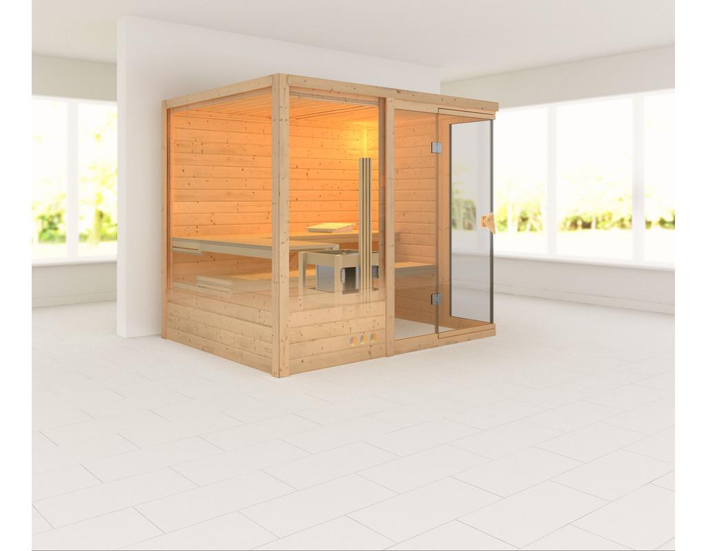 sauna massivholzsauna platina 3 inkl 9 kw saunaofen integr steuerung ka3700. Black Bedroom Furniture Sets. Home Design Ideas