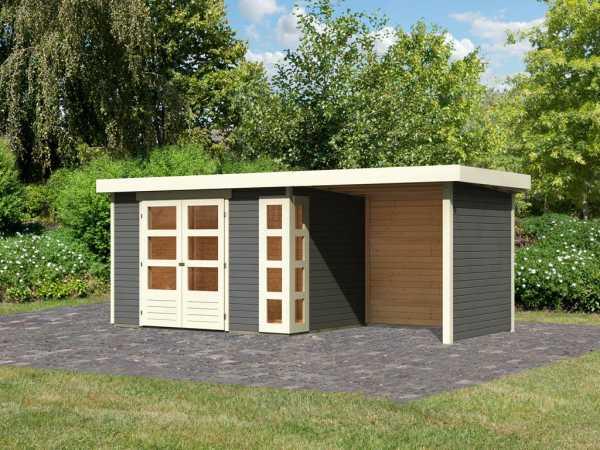 Gartenhaus SET Kerko 4 19 mm terragrau, inkl. 2,4 m Anbaudach + Seiten- und Rückwand