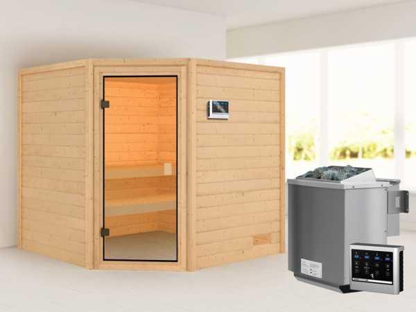 Sauna Tilda mit bronzierter Glastür + 9 kW Bio-Kombiofen ext. Strg.