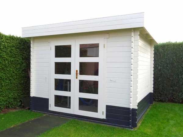 Gartenhaus Blockbohlenhaus 325 M 28 mm weiß