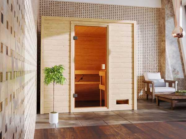 """Sauna """"Adelina"""" mit bronzierter Glastür"""