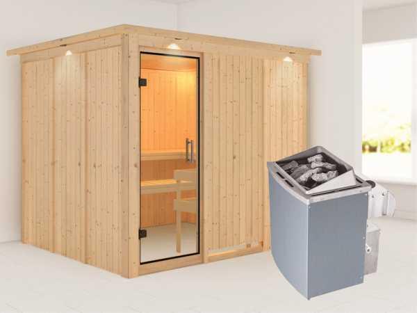Sauna Systemsauna Gobin mit Dachkranz, Klarglas Ganzglastür + 9 kW Saunaofen mit Steuerung