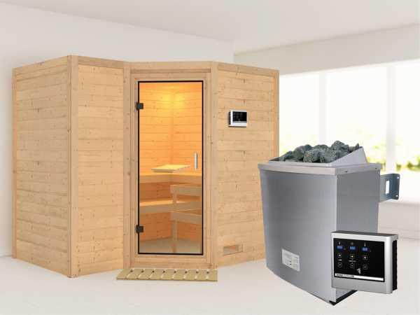 Sauna Massivholzsauna Sahib 2 Klarglas Ganzglastür + 9 kW Saunaofen mit ext.Strg