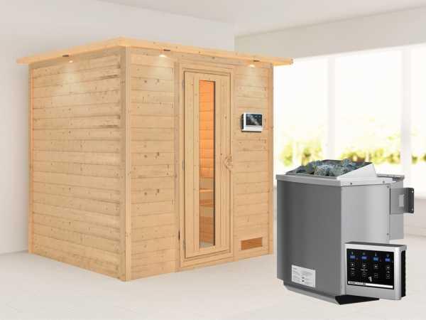 """Sauna Massivholzsauna """"Anja"""" mit Dachkranz, Energiespartür + 9 kW Bio-Kombiofen mit ext. Strg"""