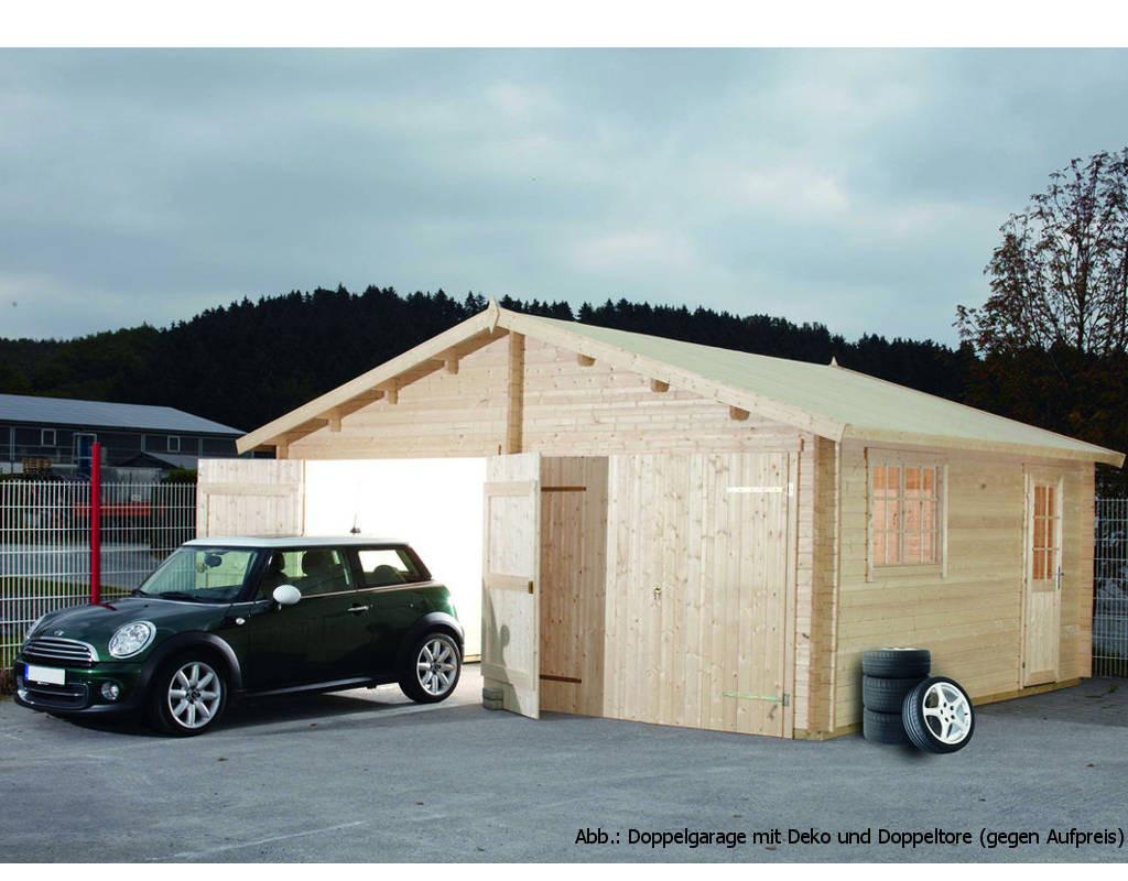 blockbohlengarage doppelgarage 44 44 mm naturbelassen wf1044. Black Bedroom Furniture Sets. Home Design Ideas