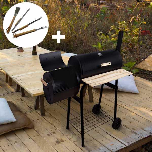 BBQ-Smoker Grillwagen SPARSET inkl. Grillbesteck 3-tlg, Edelstahl mit Holzgriffen